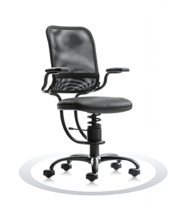 SpinaliS office chair - Ergonomic black R904 (Renna), black frame, black net