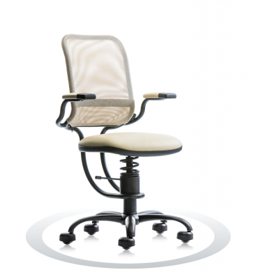 SpinaliS office chair - Ergonomic beige R119 (Renna), black frame, beige net
