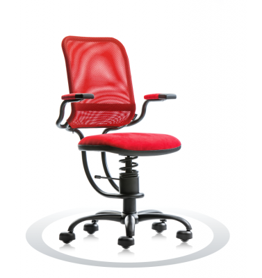 SpinaliS office chair - Ergonomic red K303 (Kissme), black frame, red net