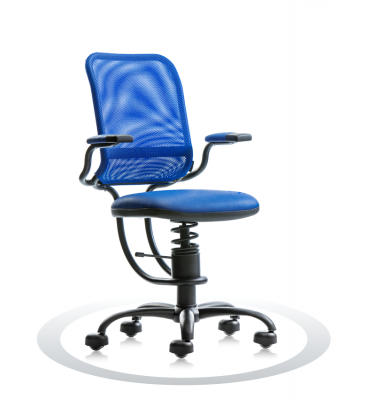 SpinaliS office chair - Ergonomic royal blue R502 (Renna), black frame, blue net