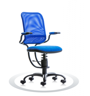 SpinaliS office chair - Ergonomic royal blue K502 (Kissme), black frame, blue net