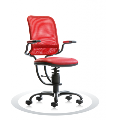 SpinaliS office chair - Ergonomic red R303 (Renna), black frame, red net