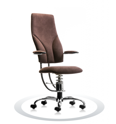 SpinaliS office chair - Navigator brown  D817 (Dynamica), chrome frame
