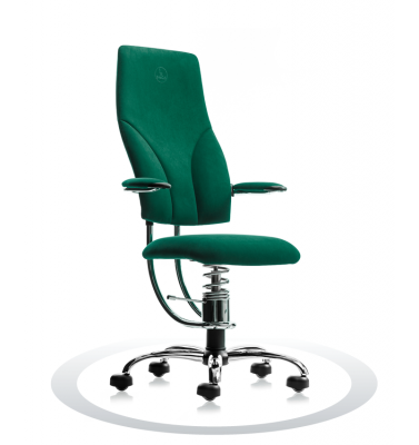 SpinaliS office chair - Navigator dark green  D605 (Dynamica), chrome frame