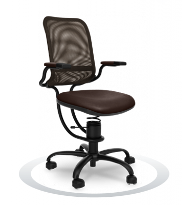SpinaliS office chair - Ergonomic brown  R824 (Renna), black frame, olive green net