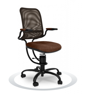 SpinaliS office chair - Ergonomic brown  K622 (Kissme), black frame, olive green net