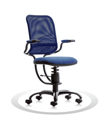 SpinaliS office chair - Ergonomic dark blue  K510 (Kissme), black frame, dark blue net
