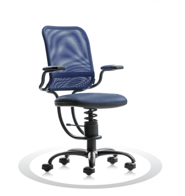 SpinaliS office chair - Ergonomic dark blue  R500 (Renna), black frame, dark blue net