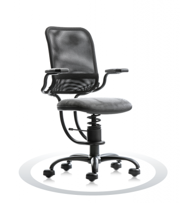 SpinaliS office chair - Ergonomic grey K736 (Kissme), black frame, grey net