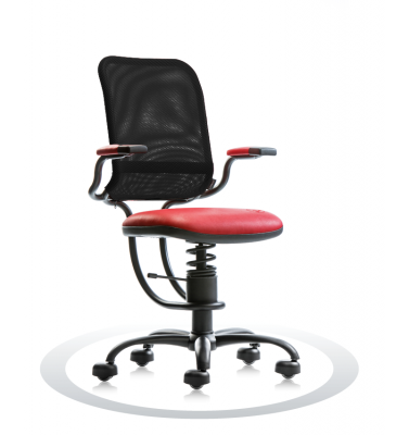 SpinaliS office chair - Ergonomic red R303 (Renna), black frame, black net