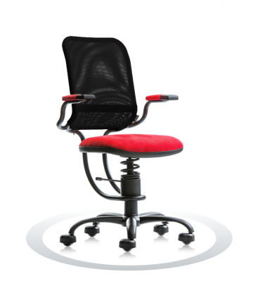 SpinaliS office chair - Ergonomic red K303 (Kissme), black frame, black net