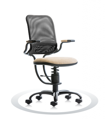 SpinaliS office chair - Ergonomic beige K119 (Kissme), black frame, black net