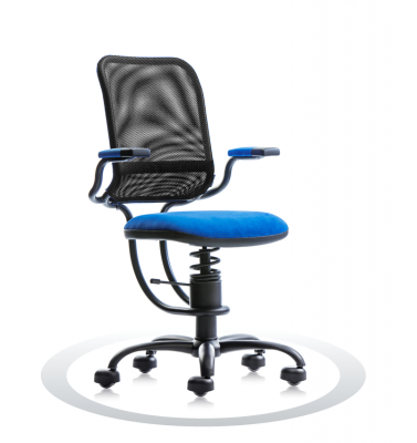 SpinaliS office chair - Ergonomic royal blue K502 (Kissme), black frame, black net
