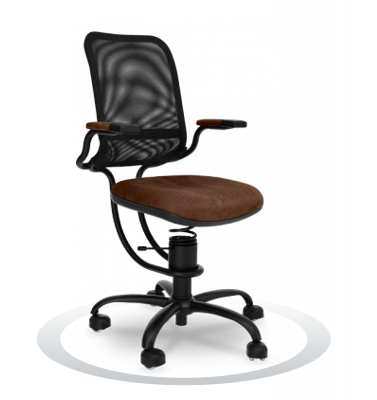 SpinaliS office chair - Ergonomic brown  K622 (Kissme), black frame, black net