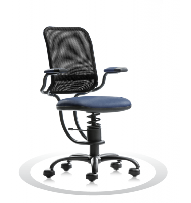 SpinaliS office chair - Ergonomic dark blue  R500 (Renna), black frame, black net