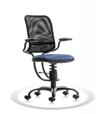 SpinaliS office chair - Ergonomic royal blue R502 (Renna), black frame, black net