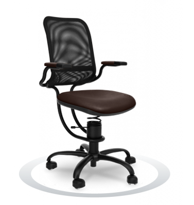 SpinaliS office chair - Ergonomic brown  R824 (Renna), black frame, black net