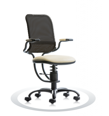 SpinaliS office chair - Ergonomic beige R119 (Renna), black frame, black net